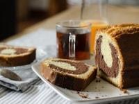 Gâteau marbré chocolat-pistaches