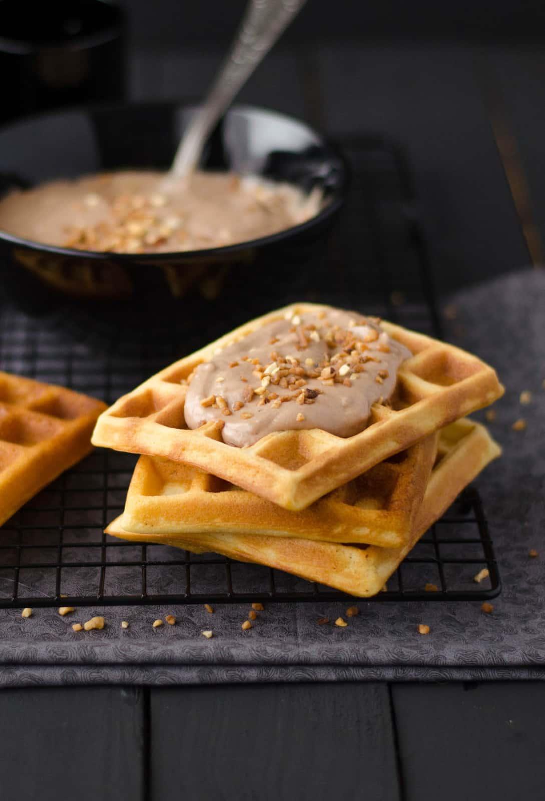 Gaufres & crème choco-noisette {au Nutella}